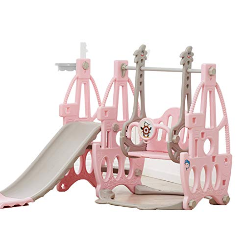RUXINGGU 4 in 1 Toddler Climber and Swing Set, Kids Play Climber Slide Playset with Basketball Hoop, Extra Long Slide and Ball, Easy Set Up Baby Playset for Indoor Outdoor Backyard (Pink Bear) (Pink)