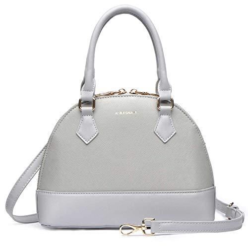 Zip Around Dome Satchel bag for women, Top Handle Crossbody Purse Faux Leather Zipper Shell Shoulder Handbag
