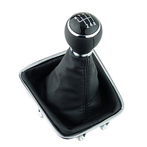 L & P Car Design L&P A278-1 - Pomello del Cambio a 6 Marce, 12 mm, Compatibile con VW Golf Plus 5M 521 Tiguan I 5N Sharan II 7N, Set Completo di telai cromati, pomello in Pelle PU