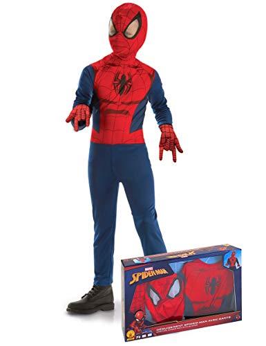 Generique - Disfraz clásico Spiderman con Guantes niño en Caja 3 a 4 años (90 a 104 cm)