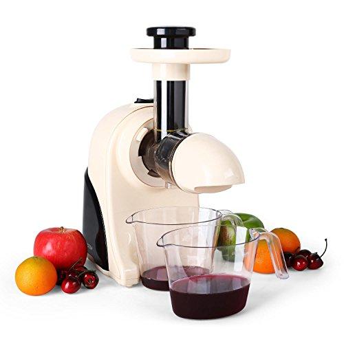 Klarstein Fruitpresso Moreno - Entsafter, vertikale Saftpresse, Fruchtsiebfilter, Slow Juicer, 150 Watt, 80 U/min, Schneckenpresswerk, Vor-und Rücklauf, 2 Behälter mit je 600 ml, creme