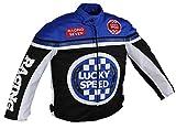 Euro Stars Chaqueta de motorista para niños, chaqueta textil para niños, chaqueta de motorista, chaqueta de carreras, azul azul XS