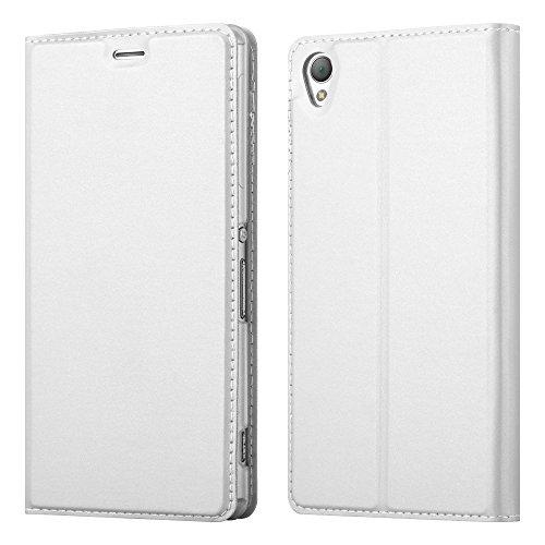 Cadorabo Hülle für Sony Xperia Z3 in Classy Silber - Handyhülle mit Magnetverschluss, Standfunktion & Kartenfach - Hülle Cover Schutzhülle Etui Tasche Book Klapp Style