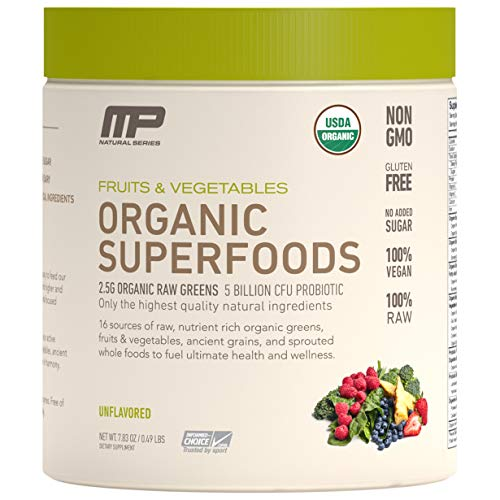 MP Organic Superfoods, Certified USDA Organic, Healthy Fruit and Vegetable Powder Drink with Probiotics, Gluten Free, All Natural, Unflavored, 30 Servings