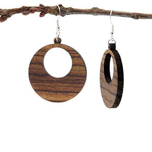 Boucles d'oreilles en bois | Moni Zebrano | Bijoux en bois véritable avec argent 925 | Dangling en bois bouchons faits à la main naturels