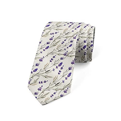 Corbatas de Hombre, Corbatas de Moda de Novedad para Hombres Corbata Delgada para Caballeros, Lazos de Moda para Negocios Formales Informales (Planta de hierba de lavanda romántica)-8x145cm