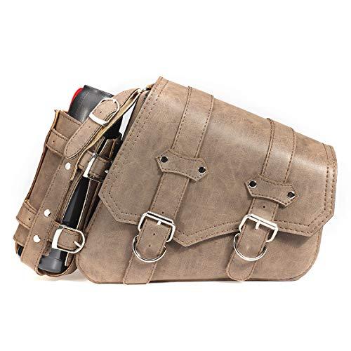 PeroFors Vintage Brown Pu Leder Links/Rechts Packtasche Satteltaschen Mit Flaschenhalter Für Harley Davidson - Recht