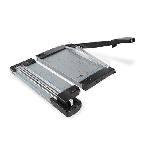 Zoomyo Schneidemaschine OC500 aus Metall, für DIN A4 – das kompakte 2-in-1-Gerät vereint Hebelschneidemaschine und Rollschneidemaschine und ist einfach tragbar, GS Zertifiziert, schwarz und grau