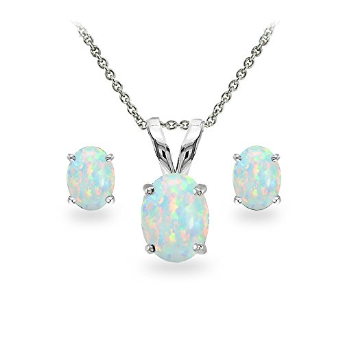 GemStar USA Sterling Silver Synthetic White Opal Oval-Cut Solitaire Necklace and Stud Earrings Set