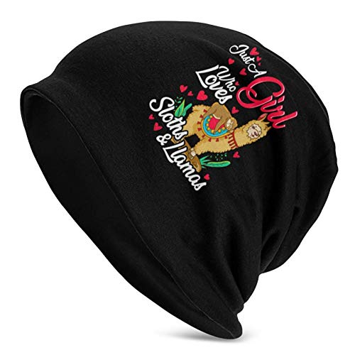 Just A Girl Who Loves S-LO-THS & Llamas All Seasons Sports Slouchy Beanie Oversized Slouch Knit Hat Skull Cap Hombres Mujeres