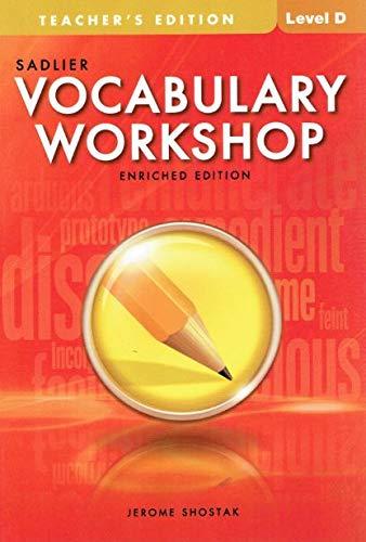 Sadlier Vocabulary Workshop Level D, Teacher's Edition, Enriched Edition, 9780821580295, 0821580299, 2012