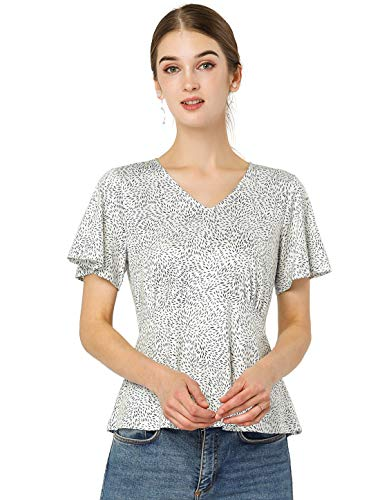 Allegra K Women's Casual Ruffle Flare Short Sleeve T-Shirt Top V-Neck...