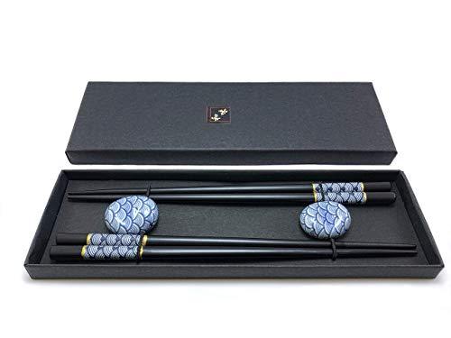 2 Paar handgemachte Sushi Stäbchen - Stäbchen japanisch - Essstäbchen Holz schwarz und elegant (Holz)