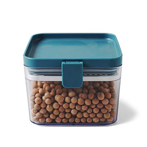 ATWAX 3Pcs Food Storage Container, Airtight Cereal Containers with Screen Compartment, Airtight Best Kitchen Pantry Containers for Cereal Rice Nuts Coffee Bean,Blue,S