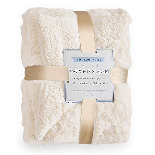 "Rose Home Fashion RHF Faux Fur Throw Blankets, Gothic Decor, Fuzzy Blanket, Soft Blanket, Throw Blanket for Couch, Plush Blanket, Fur Blanket, Fluffy Blanket, (Ivory, Throw50"" x 60"")"