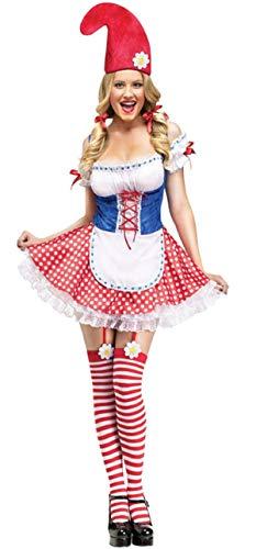 Fancy Me Damen SEXY GARTENZWERG Schneewittchen ZWERG + Strümpfe Kostüm Kleid Outfit - Rot/weiß, 10-12