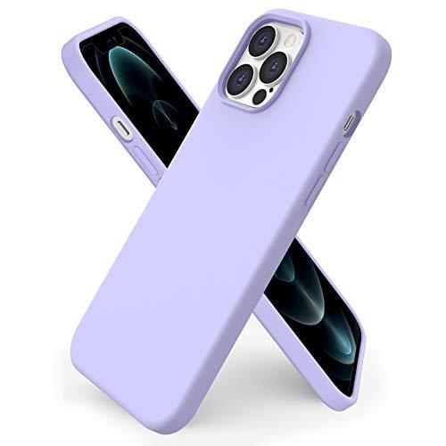 ORNARTO kompatibel mit iPhone 12 Pro Max 6,7 Silikon Hülle, Hülle Ultra Dünne Voller Schutz Flüssig Silikon Handyhülle Schutz für iPhone 12 Pro Max(2020) 6,7 Zoll Helles Lila