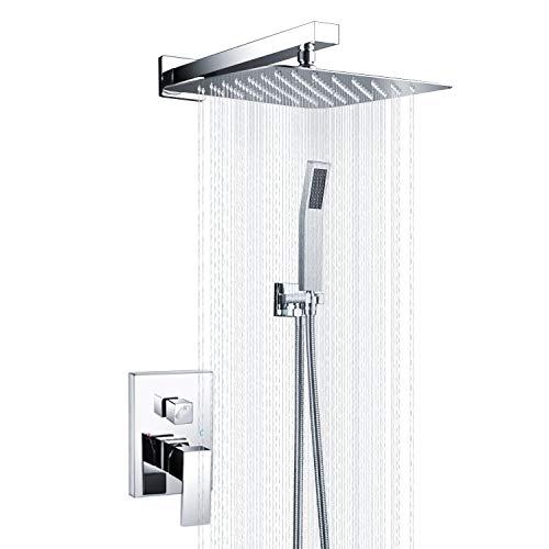 S R SUNRISE Handbrause, Badezimmer Luxus Regenmischer Dusche Combo Set Wandmontierte Niederschlag Duschkopf System poliert Chrom Srss-5043S, 12 Zoll