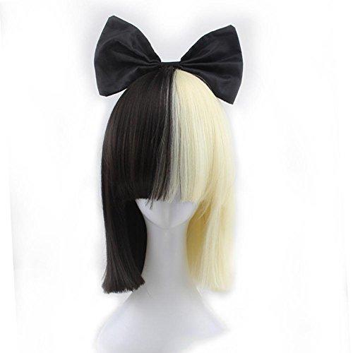 FUHOAHDD SIA Estilo Peluca Negro Y Oro Claro Color Mezclado Moda Popular Peluca Y Negro Corbata