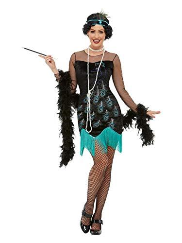 Luxuspiraten - Damen Frauen 20er Jahre Pfauen Flapper Kostüm mit Kleid & Stirnband, perfekt für Karneval und Halloween, S, Schwarz