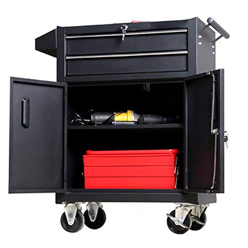YGWE Tool Cabinets Tool Cart With Drawer Workbench Workshop Tool Tin Cabinet Multifunctional Tool Chest (Color : Black, Size : 62x33x87cm)