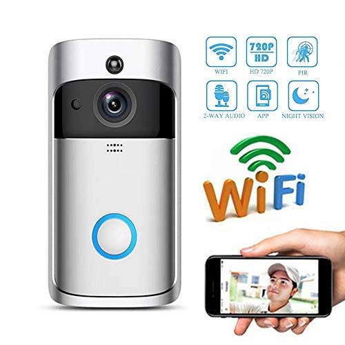 Video-deurbel, wifi smart chimes, 720P HD 166° groothoek, beveiligingscamera met deurzicht, 2-weg omzetting, bewegingsdetectie, voor iOS/Android