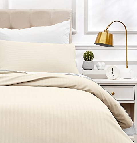comprar Amazon Basics bedding with microfiber duvet cover and 1 pillowcase – 135 x 200 cm, cream calidad precio