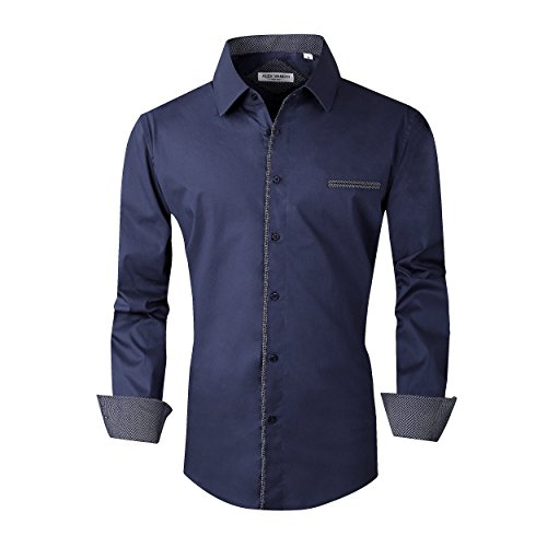 Alex Vando Mens Dress Shirts Long Sleeve Regular Fit Casual Men Shirt(Navy,XXLarge)