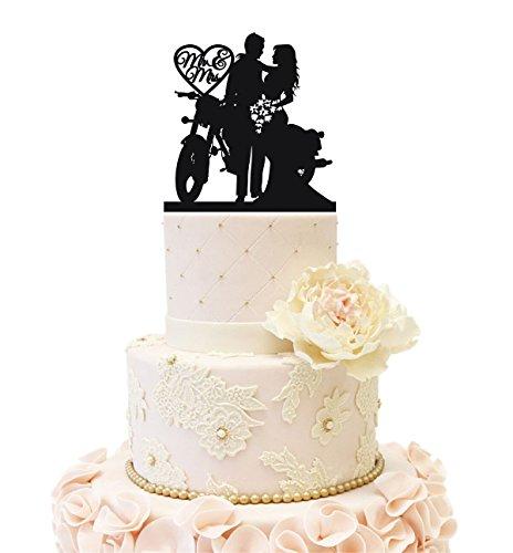 Uniquemystyle Motorcycle Funny Wedding Cake Topper Mr Mrs Bride Groom Motorbike (Black)