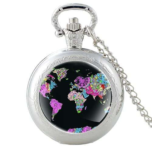 Clásico Mapa del Mundo Patrón Vintage Cuarzo Reloj de Bolsillo Hombres Mujeres Cristal Cúpula Colgante Collar Horas Reloj Accesorios Regalos