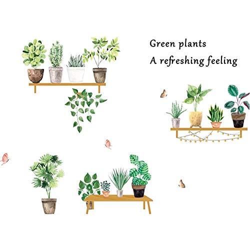 AnnQing Green Plant Pot Wandaufkleber für Raumdekoration Wohnzimmer Schlafzimmer Wanddekoration Esszimmer Wandtattoos Home Decoration Art Murals 120x86cm