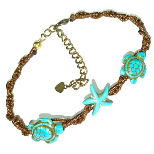 Bracelet or Anklet Sea Turtle-Star in Turquoise Brown Turtle Hemp Bracelet Hawaiian