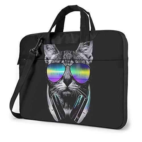Music Lover Cat Funda para portátil con Funda para Ordenador de 13 Pulgadas Bolso Bandolera Bandolera para Viajes de Negocios