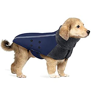 SlowTon Winter Dog Coat, Warm Polar Fleece Lining Doggie Outdoor Jacket with Turtleneck Scarf Reflective Stripe Adjustable Waterproof Windproof Puppy Vest Soft Pet Outfits