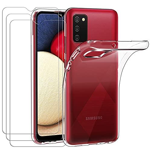 ivoler Funda para Samsung Galaxy A02S + 3 Unidades Cristal Templado, Transparente TPU Silicona Anti-Choque Anti-arañazos [Carcasa + Vidrio Templado] Protector de Pantalla y Caso