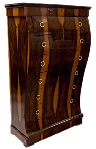 Casa Padrino Art Deco Kommode mit 6 Schubladen Braun/Hellbraun 95 x 45 x H. 155 cm - Mahagoni & Wurzelholz Schubladenschrank - Wohnzimmerschrank - Art Deco Möbel