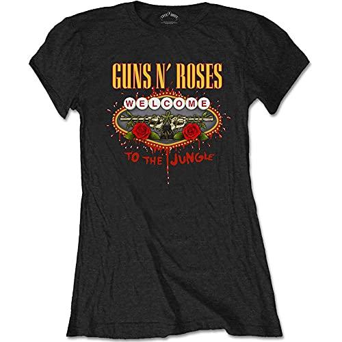 Guns & Roses Guns N' Roses Ladies tee: Welcome to The Jungle Camiseta, Negro, 42 para Mujer