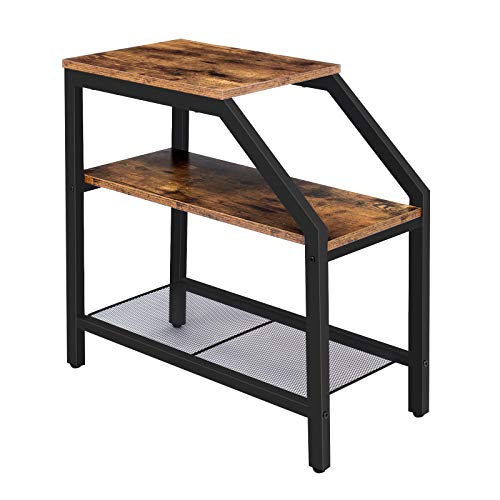 HOOBRO Side Table, Narrow Bedside Table, with 3-Tier Shelves, Industrial End Table for Small Spaces, Nightstand, Easy Assembly, Steel Frame, Rustic Brown EBF60BZ01