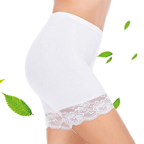 Subuteay Womens Lace Slip Shorts for Under Dresses Short Leggings Mid Thigh Stretchy Undershorts White L