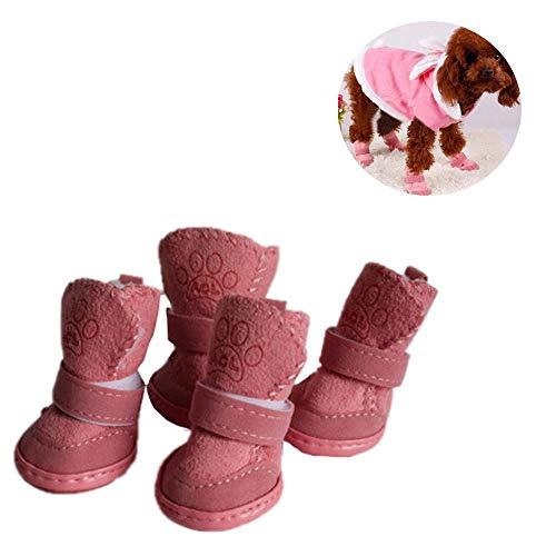 Doublehero 4pcs Hundeschuhe Schneeschuhe Winter Plüsch Schuhe Stiefel Outdoor rutschfeste Schuhe Haustier Chihuahua Warme Niedlich Stiefel für Kleine Hunde (S, Rosa)
