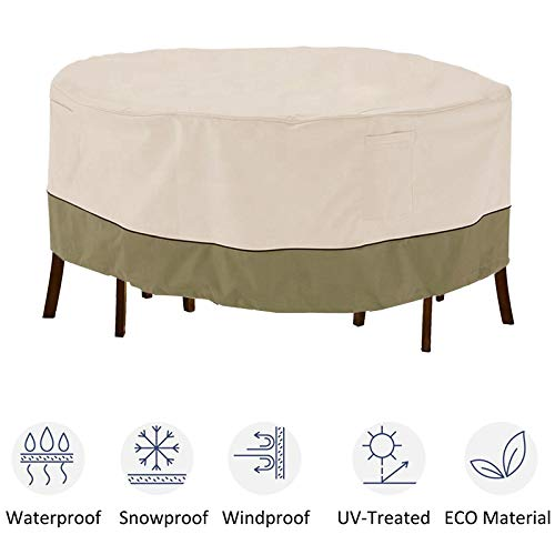 kdgarden Outdoor Round Patio Table and 6 Chairs Set Cover, Heavy Duty Waterproof 600D Large Furniture Set Cover for All Weather Protection, 94' Dia x 30' H, Beige Brown
