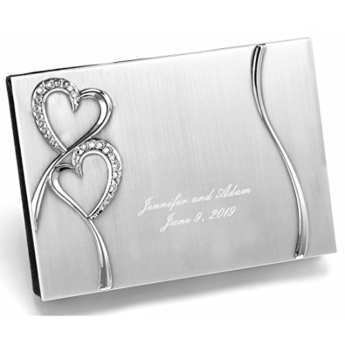 Personalized Engraved, Brushed Silver Plated Petite, Wedding Guest Book, Twin Hearts Sparkling Love