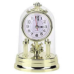 Yosoo Carage Clocks, European Retro Style Living Room Clock Antique Silent Gold Table Clock Home Decor(Gold)