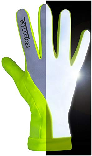 ReflecToes Reflective Running Gloves - Touchscreen - Lightweight Hi Vis Winter Running Gear for Cold Weather Jogging at Night (M)
