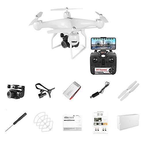 ACOC Drohne Mit Kamera 4K HD-Übertragung WiFi FPV RC Quadrocopter Handy-Steuerung Optische Flusspositionierung Flugbahn Headless-Modus 3D-Flip EIN-Knopf-Start/Landung RC-Drohnen-Anfänger,Weiß
