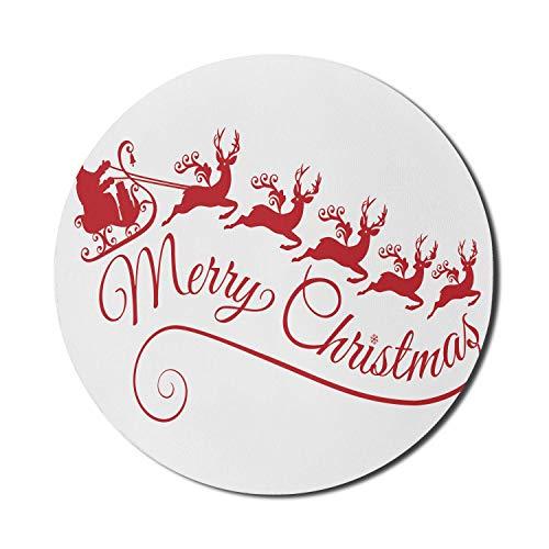 Frohe Weihnachten Mauspad für Computer, Weihnachtsmann mit seinem Schlitten Rentier Silhouette Stil Weihnachten Art Deco, rundes rutschfestes dickes Gummi Modern Gaming Mousepad, 8 'rund, dunkelrosa u