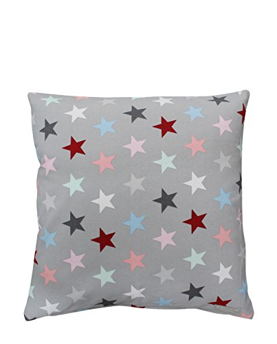 Krasilnikoff - Kissenhülle, Kissenbezug, Kissen - Sterne - Bunt Star - 50 x 50 cm - 100 % Baumwolle