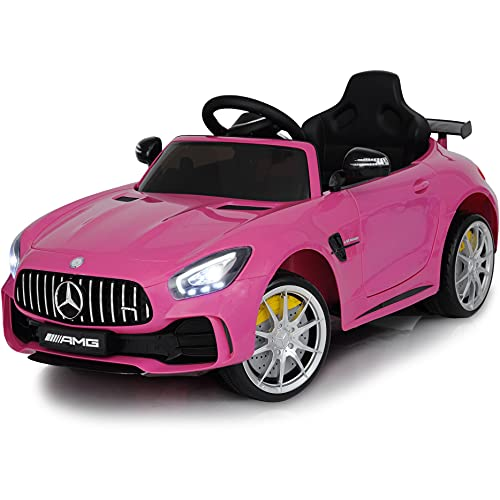 Ride On Car 12V Americas Toys Battery Electric Car for Baby with Remote Control - Kids Ride in Car w/ Spoiler Mercedes GTR MP3 Plastic Wheels Horn Compatible with Mercedes Pink