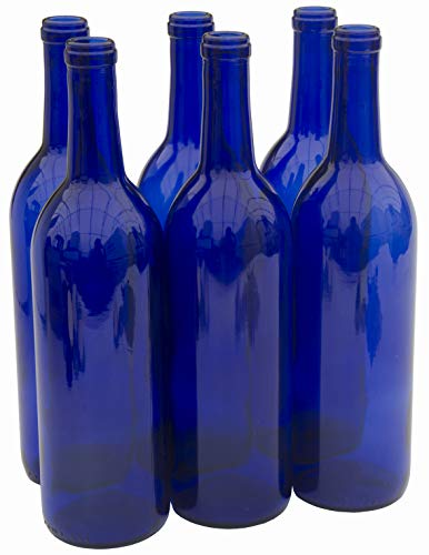 North Mountain Supply 750ml Glass Bordeaux Wine Bottle Flat-Bottomed Cork Finish - Case of 6 - Cobalt Blue