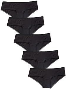 Marca Amazon - IRIS & LILLY Braguita de Algodón Mujer, Pack de 5, Negro (Black), S, Label: S